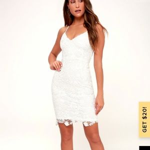 Lulus Back to You White Lace Bodycon Dress